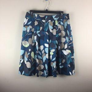 Ann Taylor blue abstract leaf, foliage skirt